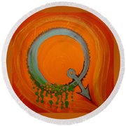 Round Beach Towel featuring the mixed media Quirky Q by Douglas Fromm