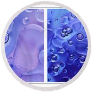 Round Beach Towel featuring the photograph Quadryptich Of Colorful Water Bubbles by Peter v Quenter