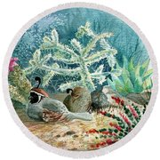 Quail At Rest Round Beach Towel by Marilyn Smith