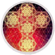 Quantum Cross Hand Drawn Round Beach Towel