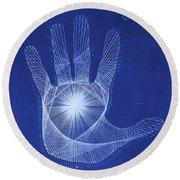 Quantum Hand Through My Eyes Round Beach Towel
