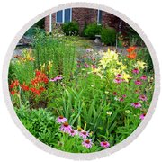 Round Beach Towel featuring the photograph Quarter Circle Garden by Kathryn Meyer
