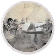Quartet Of The Composer Count A. F. Lvov, 1840 Pencil On Paper Round Beach Towel