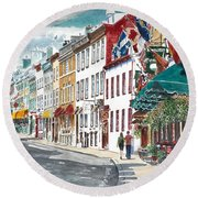 Quebec Old City Canada Round Beach Towel