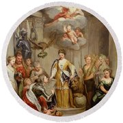 Queen Anne Presenting Plans Of Blenheim To Military Merit Oil On Canvas Round Beach Towel