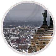 Queen City Winter Wonderland After The Storm Series 0013 Round Beach Towel