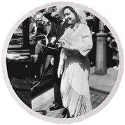 Queen Elizabeth Fashion Round Beach Towel by Underwood Archives