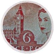 Queen Elizabeth II Big Ben Stamp Round Beach Towel