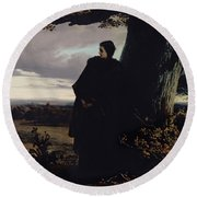 Queen Isabellas Farewell To Transylvania, 1863 Oil On Canvas Round Beach Towel
