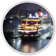 Queen Mary 2 Backing Out Of Dry Dock Round Beach Towel