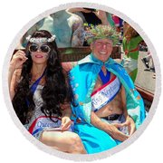 Round Beach Towel featuring the photograph Queen Mermaid-king Neptune by Ed Weidman