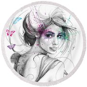 Queen Of Butterflies Round Beach Towel