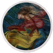 Queen Of The Angels Round Beach Towel