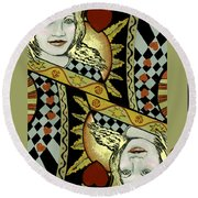 Queen's Card II Round Beach Towel by Carol Jacobs