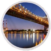 Queensboro Bridge Round Beach Towel by Mihai Andritoiu