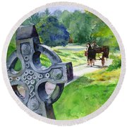 Quiet Man Watercolor 2 Round Beach Towel