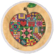 Quilted Apple Round Beach Towel