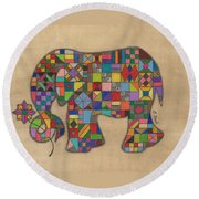 Quilted Elephant Round Beach Towel