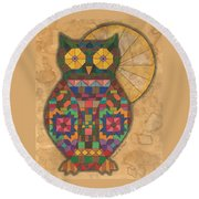 Quilted Owl Round Beach Towel