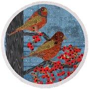 Round Beach Towel featuring the digital art Sagebrush Sparrow Short by Kim Prowse
