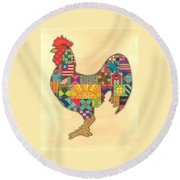 Quilted Rooster Round Beach Towel