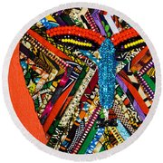 Round Beach Towel featuring the tapestry - textile Quilted Warrior by Apanaki Temitayo M