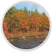 Quinapoxet River In Autumn Round Beach Towel