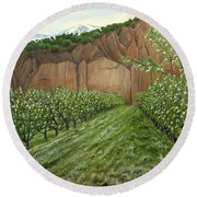 Quince Trees Round Beach Towel
