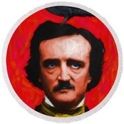 Quoth The Raven Nevermore - Edgar Allan Poe - Painterly - Red - Standard Size Round Beach Towel