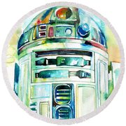 R2-d2 Watercolor Portrait Round Beach Towel by Fabrizio Cassetta