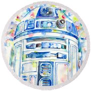 R2-d2 Watercolor Portrait.1 Round Beach Towel by Fabrizio Cassetta