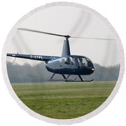 R44 Raven Helicopter Round Beach Towel