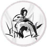 Rabbit Bunny Black White Grey Round Beach Towel