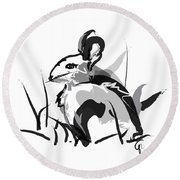 Rabbit Bunny Black White Grey Round Beach Towel