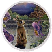 Rabbit Dreams Round Beach Towel