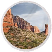 Rabbit Ears Spire At Sunset Round Beach Towel by Jeff Goulden