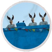 Round Beach Towel featuring the photograph Rabbit People On A Roof In New Orleans Louisiana #1 by Michael Hoard