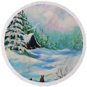 Round Beach Towel featuring the painting Rabbits Waiting For Spring by Bob and Nadine Johnston
