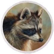 Raccoon Round Beach Towel by David Stribbling