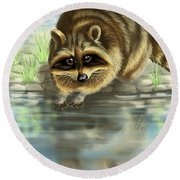 Raccoon Round Beach Towel by Veronica Minozzi