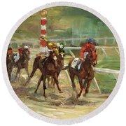 Race Horses Round Beach Towel