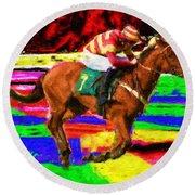 Racehorse Round Beach Towel by Ron Harpham