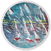 Racing To The Limits - Sold Round Beach Towel by George Riney