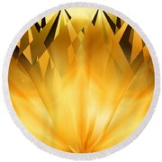 Radiant Gold Round Beach Towel by rd Erickson