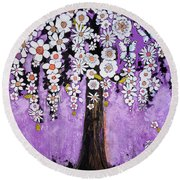 Radiant Orchid Flower Tree Round Beach Towel by Blenda Studio