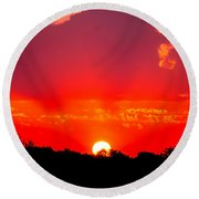 Round Beach Towel featuring the photograph Radiant Sunset by Dee Dee  Whittle