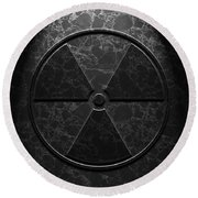 Round Beach Towel featuring the digital art Radioactive Symbol Black Marble Texture by Brian Carson