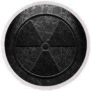 Radioactive Symbol Black Marble Texture Round Beach Towel