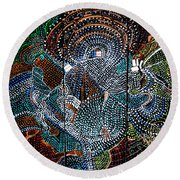 Round Beach Towel featuring the painting Radiohead by Gloria Ssali