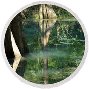 Radium Springs Creek In The Summertime Round Beach Towel